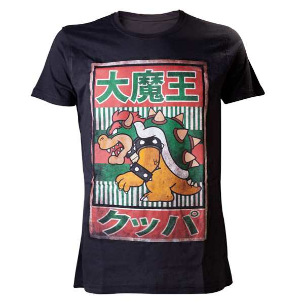 Nintendo Black, Bowser Kanji Mens T-Shirt